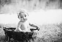 photo bébé fille dans un panier dans l'herbe