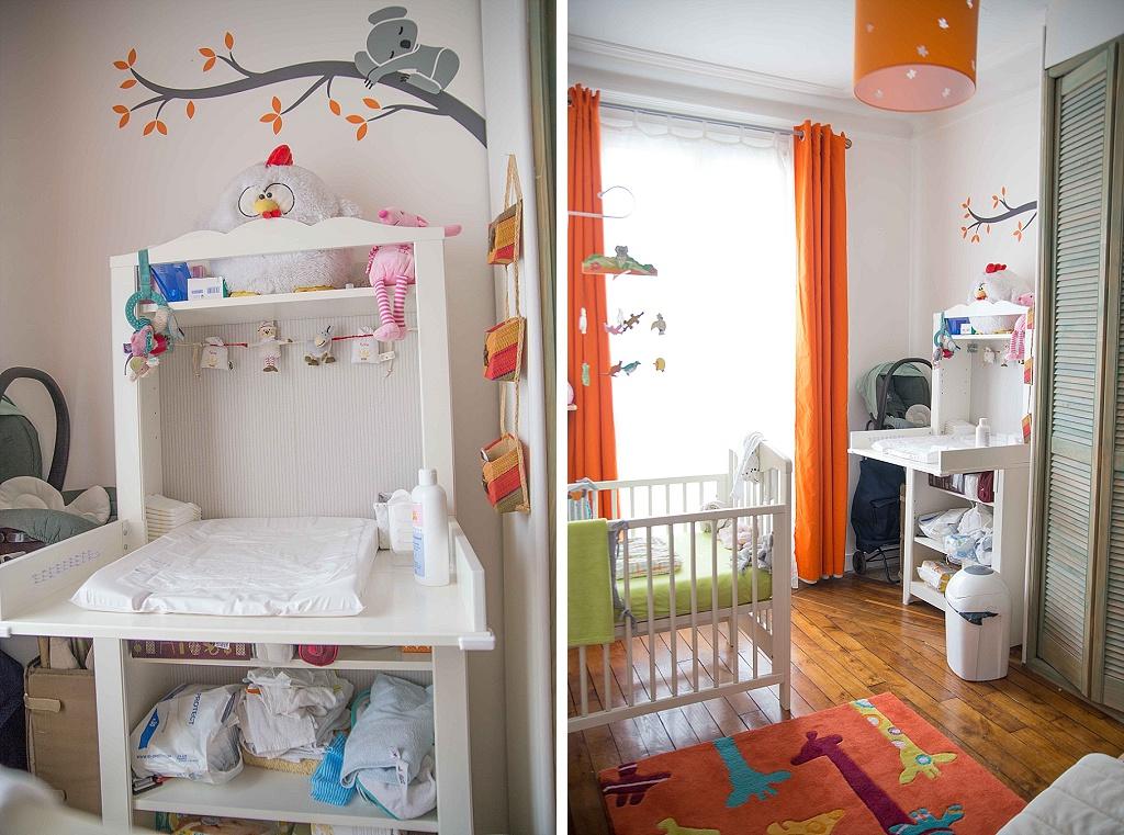 Une chambre de bébé blanche, orange et verte : du peps et de ...