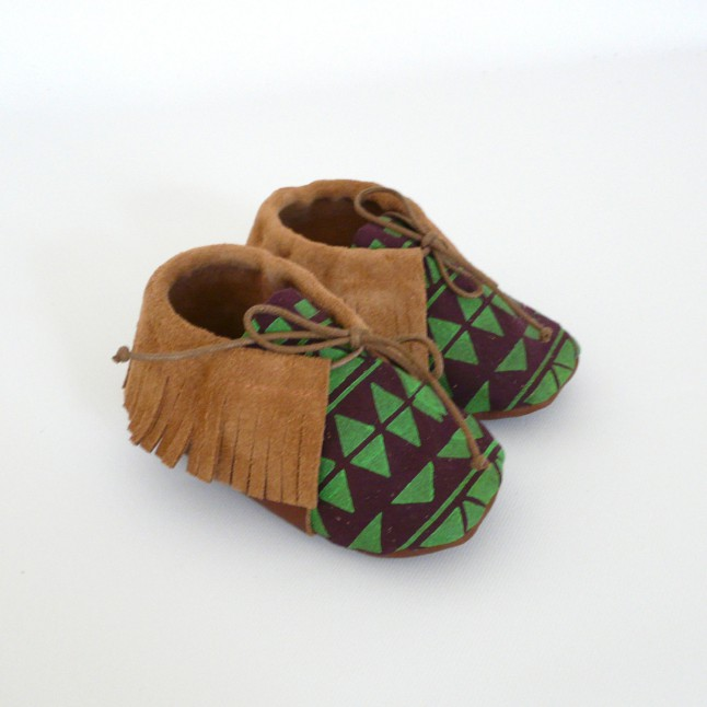 chaussons cuir indien