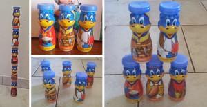 jeux pour enfants avec des pots de yaourts à boire