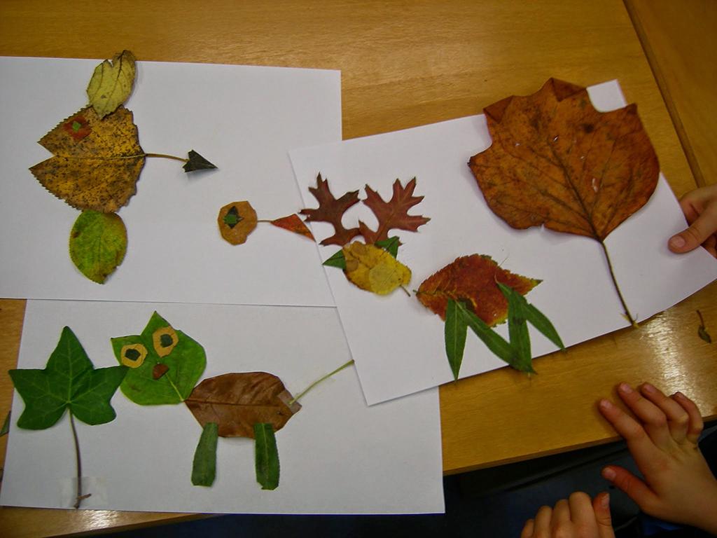 collages animaux avec des feuilles d'automne