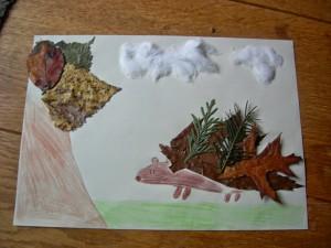 créer avec des feuilles d'automne - hérisson