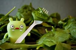 petit personnage Jeero fourchette et épinards