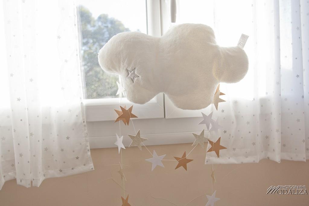 photo chambre bébé aviateur étoile nuage blanc or